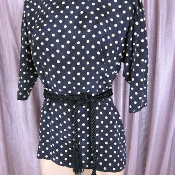 EMANUEL UNGARO Parallele // Vintage polka dot Blouse // Made in Italy // Fits S // Silk Jacquard