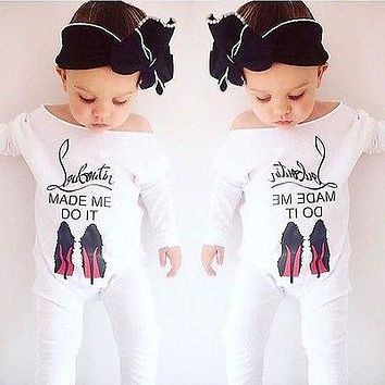 Cotton Spring Newborn Baby Girl Boy Clothes High Heel Shoes Printed Romper Outfits 0-24M
