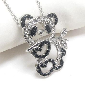 one piece Costume Jewelry Crystal Rhinestone Lovely Panda Animal Charm Necklace xy031