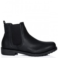 CALISY Flat Cleated Sole Chelsea Ankle Boots - Black Leather Style