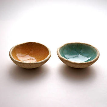 Set of 2 Turquoise and light orange ring Dishes ,Ceramic Bowl,Jewelry Dish ,Jewelry Holder ,Candle Holder ,Ceramic plate,