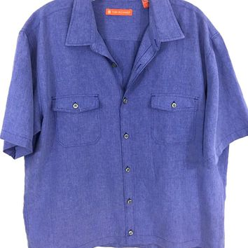 Tori Richards Blue Rayon Blend Button Front 2 Pocket Camp Shirt Men's Large L - Preowned