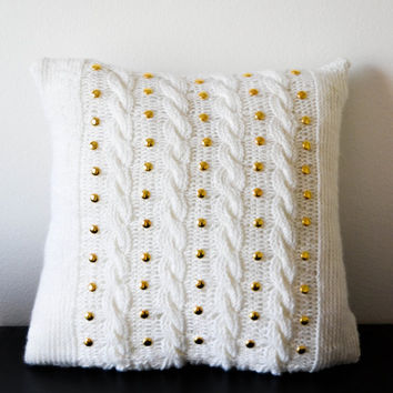 White pillow case with round golden studs, home decor, cable knit pillow cover, gift idea, wedding, bridal pillow, decorative pillow