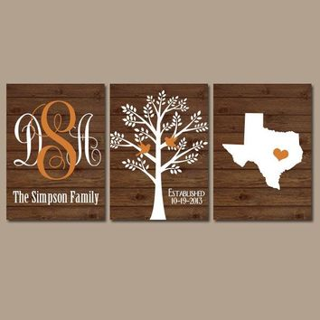 Family Tree Wall Art, Personalized Monogram CANVAS or Prints, Bedroom Pictures Custom Wedding Gift, Last Name Date Tree Birds State Set of 3