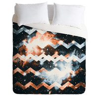 Caleb Troy Brass and Silver Star Chevron Duvet Cover