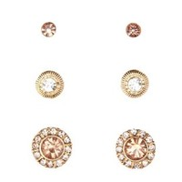Gold Rhinestone Stud Earrings - 3 Pack by Charlotte Russe