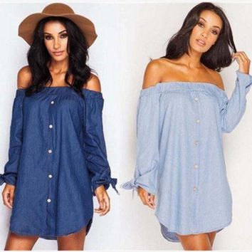 DCCKHQ6 Butterfly Hot Sale Autumn Stylish Sexy Long Sleeve Denim One Piece Dress