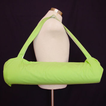 Yoga mat bag with neon green flannel - Fits standard sized yoga mat - Yoga tote bag for men and women - Handmade in Eugene Oregon