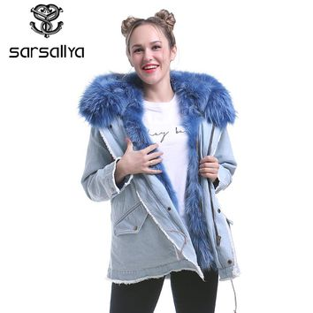 SARSALLYA real fur denim jacket women's raccoon fur coat parkas outwear long detachable lining winter jacket brand style