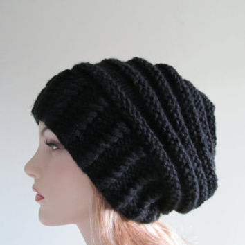 300a97172106a8 Slouchy Beanie Slouch Hats Oversized Baggy womens Fall Winter accessory  Black Hand Made Knit