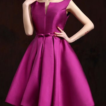 Purple Party Dress with Lace-up Back