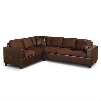 Dark Brown Chocolate Sectional Sofa in Microfiber and Faux Leather