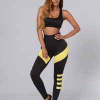 Black Cropped Top Spliced Stripe Pants Sports Suit