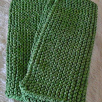 Hand crafted knit dish cloth Set of 2-Green