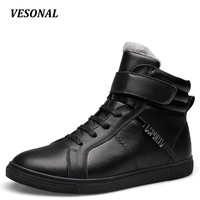 Ankle Snow Boots Men Shoes Genuine Leather Winter Warm Velvet Fashion Cow Casual Boot Male