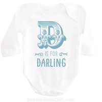 Alphabet Letter D is for Darling Baby Bodysuit OnePiece Baby Outfit with Saying for New Babies & Toddlers