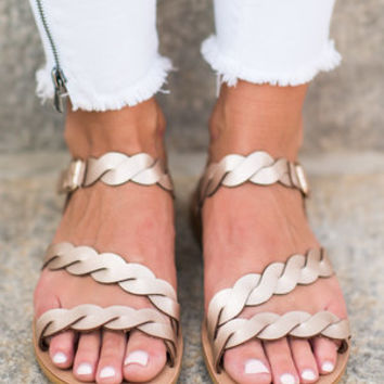 Catch You Eye Sandals, Rose Gold