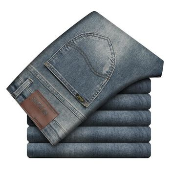 Men's Fashion Vintage Pants Weathered Slim Stretch Men Jeans [3444981825629]