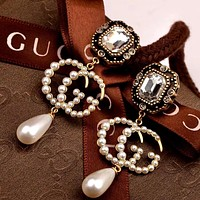 Gucci Pearl Double G Women's Vintage Wild Earrings