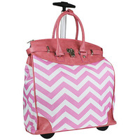 Pink & White Chevron Folding Rolling Luggage