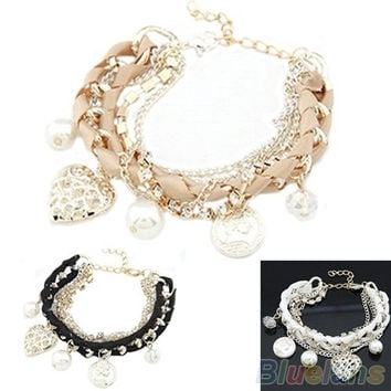 Womens Stylish Jewelry Gold Metal Heart Pearl Pink/White/Black Bracelet, cute, charms bracelet, korean style, fashion jewelry = 1651435588