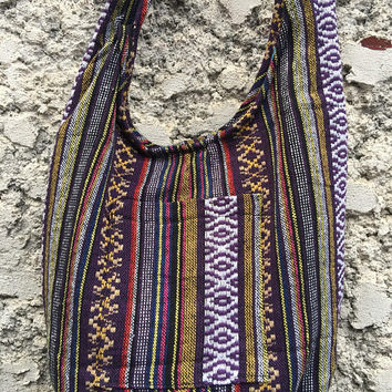 Boho Crossbody Sling bag Tribal Woven Hippie Aztec Nepali festival Bag Diaper Tote Hmong bag Vegan gift Ikat Ethnic style for Men Women