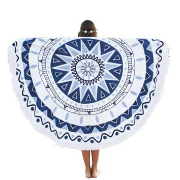 LMF9GW Newly High Quality Round Hippie Tapestry Beach Throw Roundie Mandala Towel Yoga Mat Bohemian Cotton Wall Hanging Free Size Nov3e