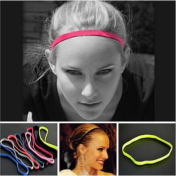 High Quality New arrival 1 pc Women Men yoga hair bands Sports Headband Anti-slip Elastic Rubber Sweatband Football Yoga