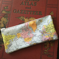 World Map pencil case, makeup bag, travel, wanderlust, back to school, zipper bag