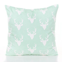 Mint Green Pillow Cover, Baby Pillow, Rustic Nursery Pillows, Deer Head Print Pillow, Country Decor, Boy's Room Decor