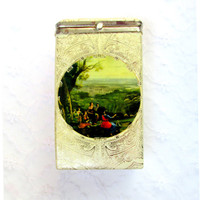 Ladies Cigarette Case Made In Italy Old Italy Scene On Front Gold Embossed Throughout Vintage Collectible Gift Item 2217