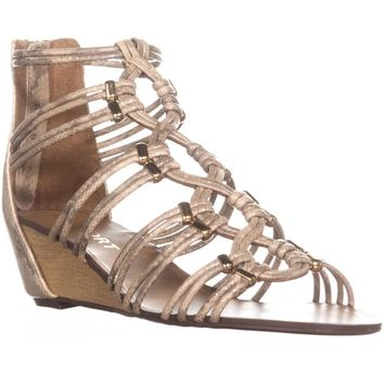 Report Maple Wedge Zip Up Sandals, Gold, 9 US