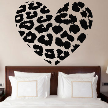 Leopard Skin Print Heart Shaped Wall Vinyl Sticker, Animal Skin Bedroom Decor Art Decal DIY Removable Mural ! Free shipping!
