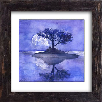 Lilac Landscape Print -  Purple night Moon painting - Purple Tree Painting, Fine Art Gorgeous Print , High quality Realistic Art  Wall decor