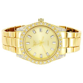 Men's Gold Finish 41MM Presidential Solitaire Prong Bezel Watch