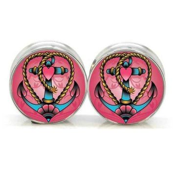 ac PEAPO2Q 1 pair Stay Gold Heart Anchor stainless steel night owl plug tunnels double flare ear plug gauges body piercing jewelry