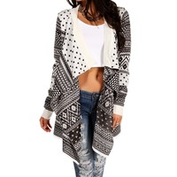 Ivory/Black Geometric Cardigan