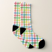 Rainbow Plaid Pattern Socks
