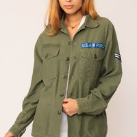Air Force Shirt Army Jacket US Military Olive Drab Green 80s