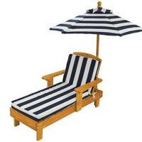 KidKraft Outdoor Chaise with Umbrella (Navy & White Stripes)