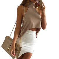 Summer style elegant high neck halter tops Sexy off shoulder women tank top Girls party crop tops Casual white chiffon blouse