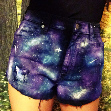 ON SALE High-waisted Hipster Galaxy Black Jean Shorts (Glow In The Dark!)