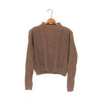 Chunky Cropped Sweater 1990s Copper Brown Mock Neck Sweater Ribbed 90s Boxy Preppy Knit Cable Knit Plain Basic Minimal Bohemian XS