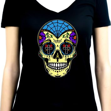 "Yellow Sugar Skull Calavera Women's V-neck Shirt Top  ""Dia De Los Muertos"" Day of the Dead"