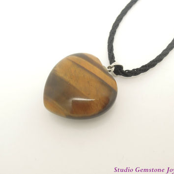1PC Natural Gemstone Yellow Tiger Eye Heart Pendant Necklace, Birthday Gift, Best Friendship Necklace