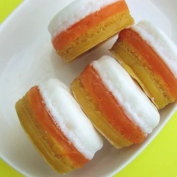 Candy Corn MACARON Soap - Halloween Party Favors - Halloween Cute