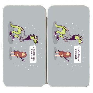 'Hipster Dinosaur' I Existed Before It Was Cool Talking to Caveman - Taiga Hinge Wallet Clutch