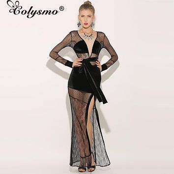 3efecb8c48 Colysmo Sexy Maxi Dress Long Women Lace Dress Winter Velvet Dres