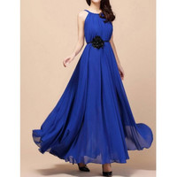 Blue Sleeveless Chiffon Maxi Dress