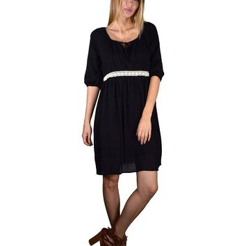 Quarter Sleeves Empire Waist Skater Dress